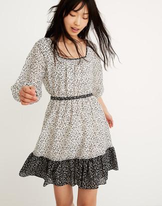 Madewell Pattern-Mix Ruffle-Hem Dress in Garden Toile