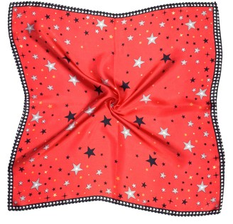 Bees Knees Fashion Red Black Star Printed Small Square Fine Pure Silk Scarf