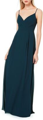 #Levkoff Surplice Neck Chiffon A-Line Gown