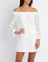 Charlotte Russe Lace Off-The-Shoulder Shift Dress