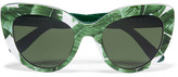 Dolce & Gabbana Cat-eye Printed Acetate Sunglasses - Green