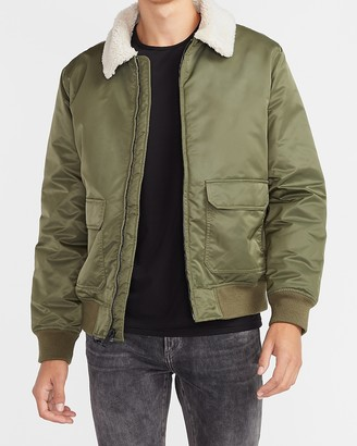 Express Sherpa Collar Water-Resistant Nylon Bomber Jacket
