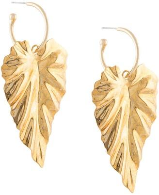 Jennifer Behr Large Leaf Hoop Earrings