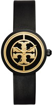 Tory Burch REVA WATCH, BLACK LEATHER/STAINLESS STEEL, 36MM