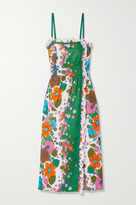 Zimmermann Riders Ruffled Floral-print Linen Midi Dress - Green
