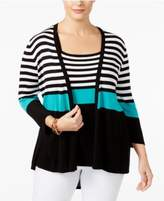 Belldini Plus Size Striped Cardigan & Tank Top Matched Set