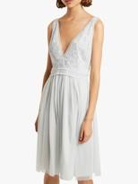 French Connection Estelle Deep V Neck Embellished Dress