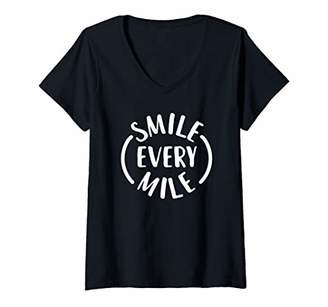 Womens Smile every Mile V-Neck T-Shirt