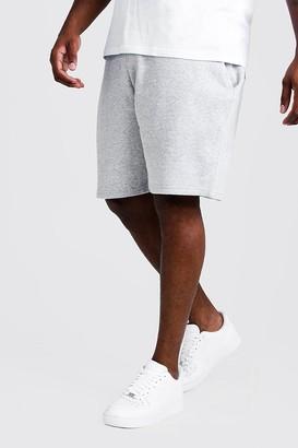 boohoo Mens Grey Plus Size Basic Skinny Fit Jersey Short, Grey
