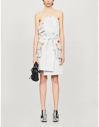 Heron Preston Deconstructed strapless cotton-twill mini dress