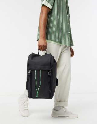 Asos DESIGN backpack in black rubberised finish with double strap and neon cord