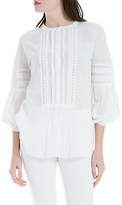 Max Studio Blouson Sleeve Pleated Top, White