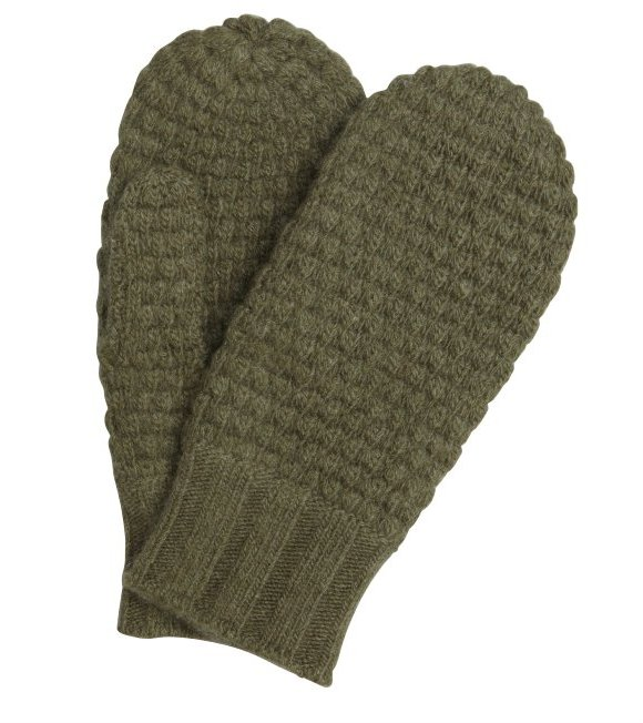 Portolano loden green cashmere popcorn knit mittens