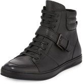 Kenneth Cole Brand Slam Leather High-Top Sneaker, Black