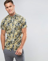 Selected Short Sleeve Shirt In Regular Fit With All Over Hawaian Print