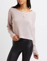 Charlotte Russe Ribbed Dolman Cropped Sweater