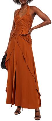 Self-Portrait Pleated Crepe De Chine Halterneck Maxi Dress