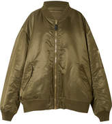 Vetements Reversible Oversized Satin-shell Bomber Jacket - Army green