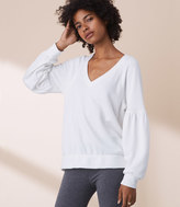 LOFT Lou & Grey Fleeceback Blouson Sleeve Top