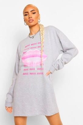 boohoo Merci Lips Sweatshirt Dress