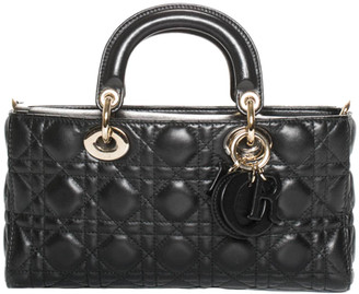 Christian Dior Black Quilted Cannage Leather Runway Handbag