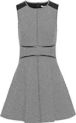 Derek Lam 10 Crosby Leather-paneled Houndstooth Cady Mini Dress