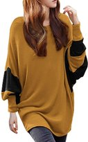 Allegra K Women Color Block Batwing Sleeves Loose Tunic Top L Grey