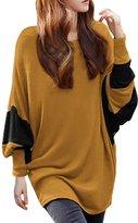 Allegra K Women Scoop Neck Color Block Batwing Loose Tunic Top
