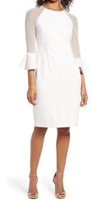 Eliza J Illusion Long Sleeve Crepe Cocktail Dress