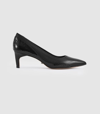 Reiss June - Leather Kitten Heeled Court Shoes in Black