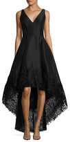 Betsy & Adam Lace-Trimmed Hi-Lo Gown