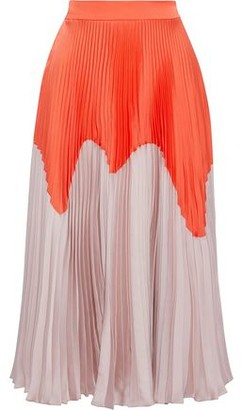 Roksanda Two-tone Plisse-satin Midi Skirt