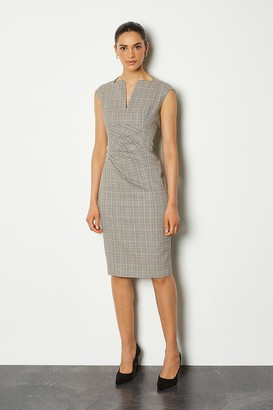 Karen Millen Check Envelope Sleeveless Midi Pencil Dress