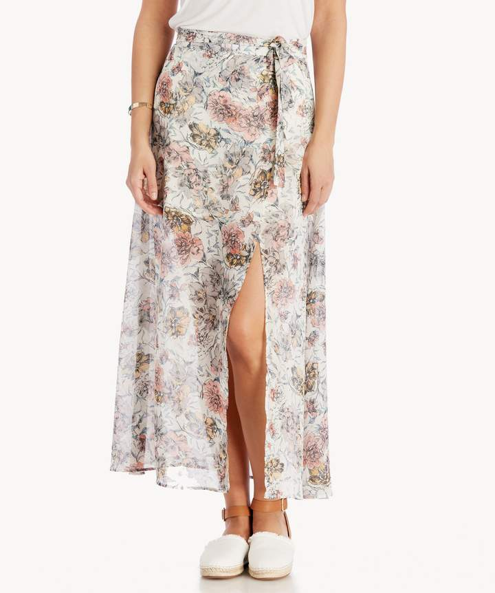 Printed Maxi Skirt With High Side Slit