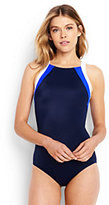 Lands' End Women's Petite High-neck One Piece Swimsuit-Deep Sea/White