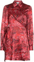 Ganni printed wrap mini dress