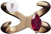 Bijules Women's Rose Gold Plated Sterling Silver Marquise Red Ruby and Double Pearls Future Baby Knuckle Ring - Size Medium