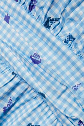 HVN Gathered Printed Stretch-cotton Poplin Mini Dress - Blue