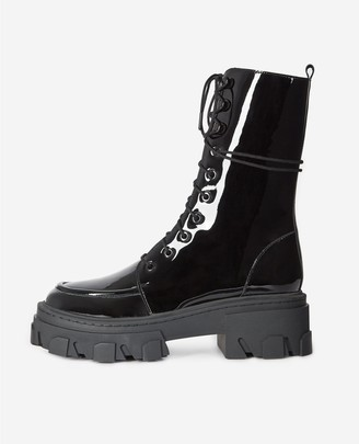 The Kooples Black glossy leather boots with laces