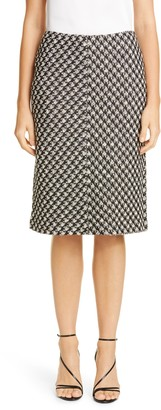 St. John Textured Boucle Houndstooth Knit Skirt