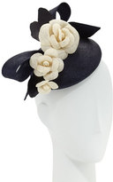 Rachel Trevor-morgan Rachel Trevor Morgan Straw Pillbox Hat w/ Camellias, Navy