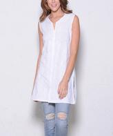 Paparazzi White Two-Tone Embroidery Sleeveless Tunic