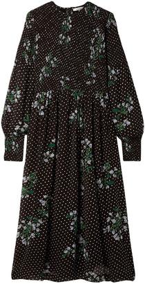 Ganni Rometty Shirred Printed Georgette Midi Dress