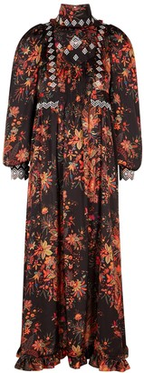 Paco Rabanne Floral-print embroidered satin maxi dress