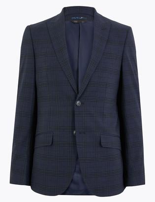 Marks and Spencer Blue Regular Fit Checked Jacket