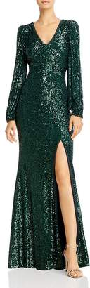 Avery G Sequin V-Neck Gown