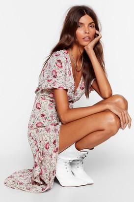 Nasty Gal Womens Floral Frill V-Neck Midi Dress - White