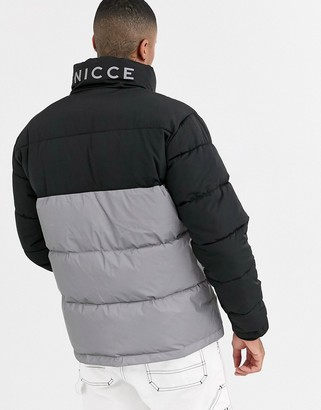 Nicce puffer jacket in black with reflective panel-Silver