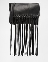 Asos Tassel Flap Leather Cross Body Bag