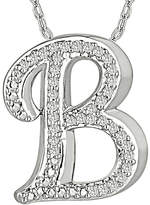 FINE JEWELRY 1/7 CT. T.W. Diamond Sterling Silver Initial B Pendant Necklace